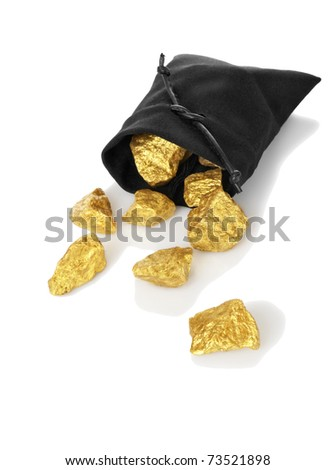 Gold nuggets in a bag, isolated on white