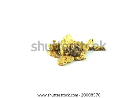 Gold nuggets isolated a white background. - stock photo