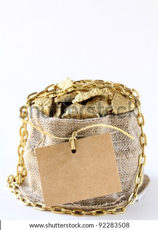 gold nuggets on a small pouch - stock photo