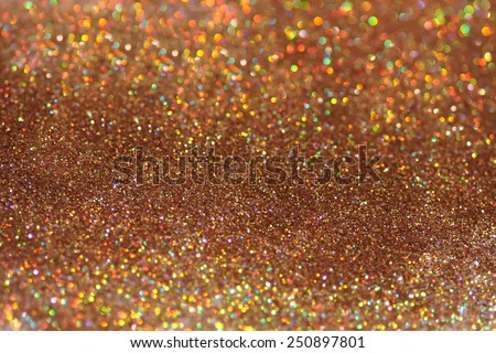 Gold nuggets sparkling carpet. Close-up view, very shallow deep of field . Macro. - stock photo