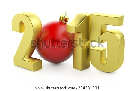 Gold number of 2015 years and chrismas toy on white. - stock photo