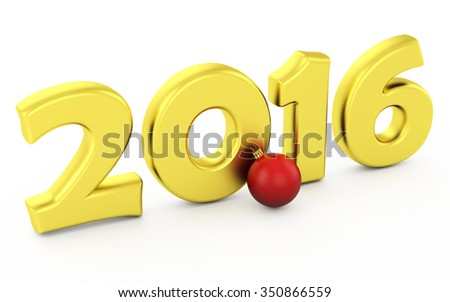 Gold number of 2016 years and chrismas toy on white. - stock photo