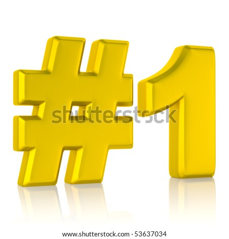 gold number one sign isolated on white background with clipping path