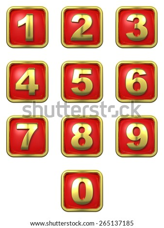 Gold Numbers in Frame on Red Background. - stock photo