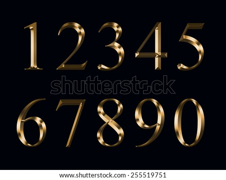 gold numerals, isolated on a black background - stock photo
