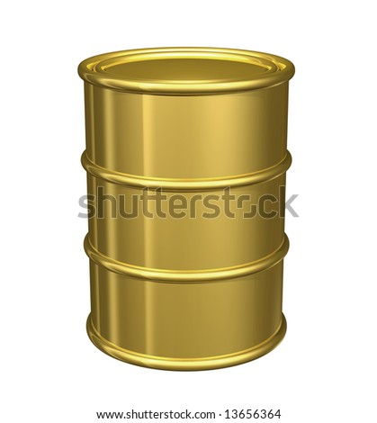 Gold oil barrel with clipping path on white. Metaphor for rising oil prices.