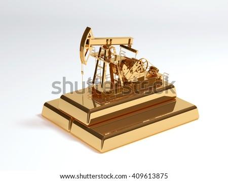 Gold oil rocking. 3d render - stock photo