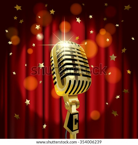 Gold old microphone against the illuminated red curtain background with rain of stars. Retro music concept - stock photo