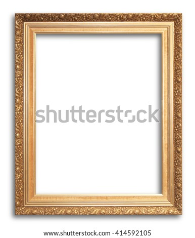 Gold Old picture frame on white background. - stock photo