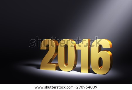 Gold 2016 on dark background, brightly illuminated from upper right by angled spotlight.