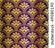 Gold on purple seamless peacock sari pattern (JPG); vector version also available - stock vector