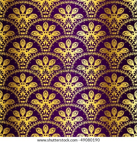 Gold on purple seamless peacock sari pattern (JPG); vector version also available - stock photo