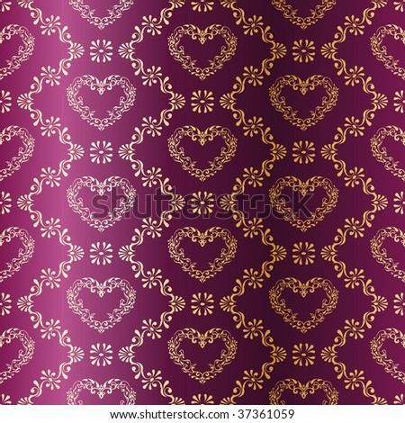 Gold-on-Purple seamless sari pattern with hearts (JPG); a vector version is also available - stock photo