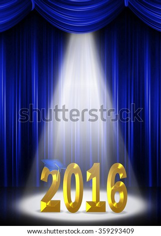 gold 2016 on stage in a spotlight for graduation with blue curtain backdrop
