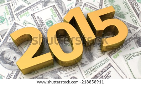 Gold 2015 on the background of one hundred dollar bills - stock photo