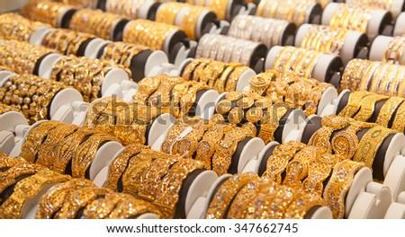 "Gold on the famous ""Golden souk"" in Dubai - stock photo"