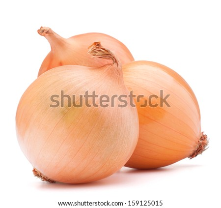 Gold onion vegetable bulbs on white background cutout - stock photo