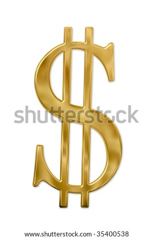 Gold or golden dollar sign. Isolated on white. Clipping path included. - stock photo