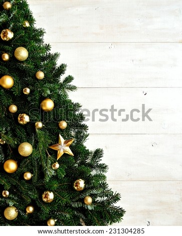 Gold ornament ball Christmas tree