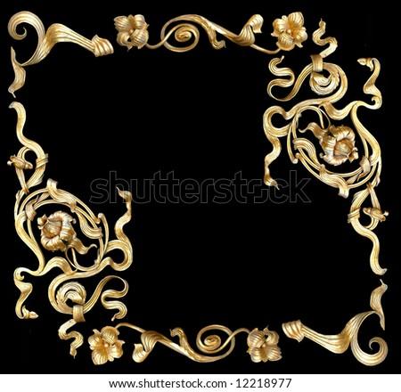 gold ornamental pattern on black background - stock photo