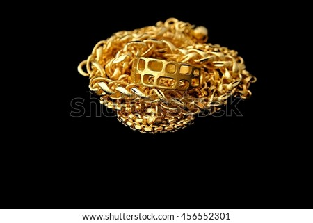 Gold ornaments on black