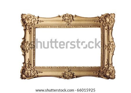 gold ornate eleaborate frame isolated on a white background - stock photo