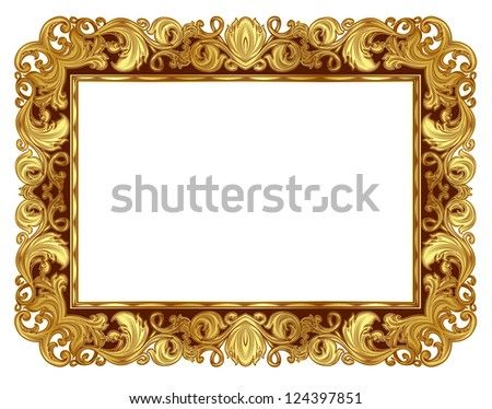 Gold ornate frame in the Renaissance style. Raster version of vector file.