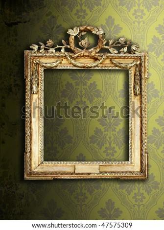Gold ornate frames & retro wallpaper - stock photo