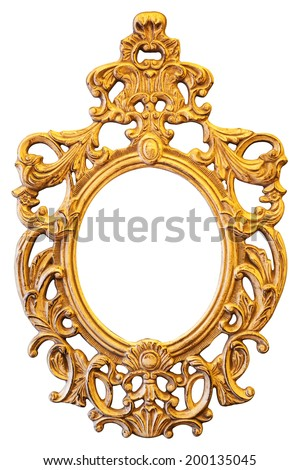 Gold ornate oval frame isolated  - stock photo