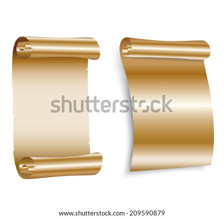 Gold paper scroll on white