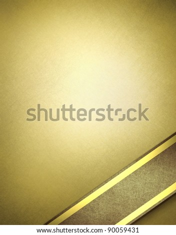 gold parchment background with soft vintage grunge texture and brown vignette around border with brown ribbon design layout in corner with gold accent trim and copy space - stock photo
