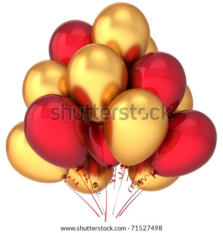 Gold party balloons golden red Happy birthday celebrate luxury positive decoration. Anniversary retirement graduation beautiful greeting card concept. Detailed 3d render. Isolated on white background - stock photo