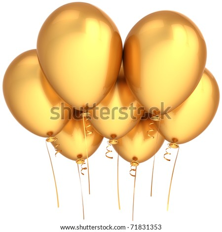 Gold party balloons happy birthday decoration 7 golden. Luxury celebrate seven anniversary greeting card concept. Joy funny positive emotions abstract. 3d render isolated on white background - stock photo