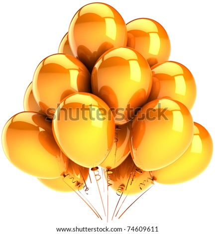 Gold party balloons sunny orange yellow golden decoration. Happy Birthday celebrate greeting card concept. Happiness positive joyful funny abstract. Detailed 3d render. Isolated on white background - stock photo