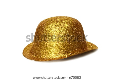 Gold Party Hat - Isolated on white background - stock photo