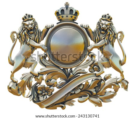 Gold patina old coat of arms with lions on a white background isolated The old coat of arms on a white background isolated