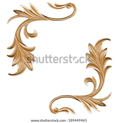 gold pattern isolates the flame shaped like abstract art - stock photo