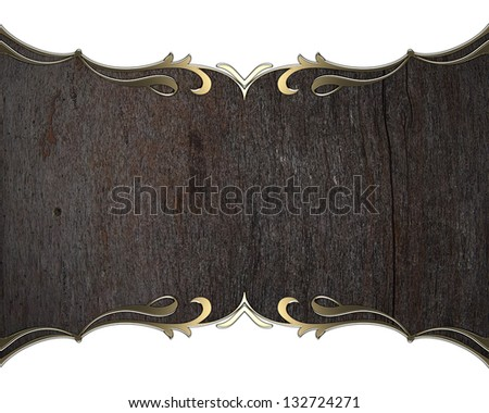 Gold pattern on edges wood plate isolated on white background