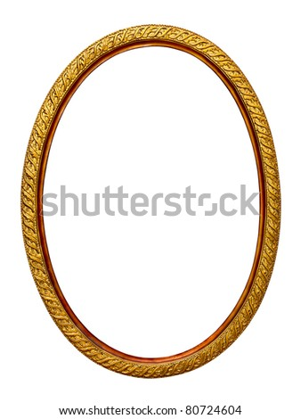 gold-patterned frame for a picture on a white background - stock photo