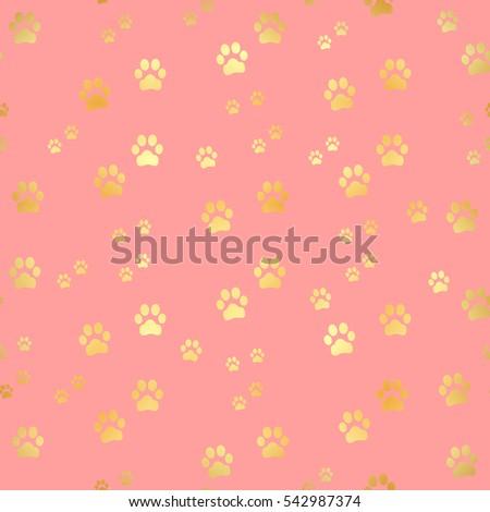 Gold Paw Print Seamless Pattern Stock Illustration Puppy Prints Dog Background