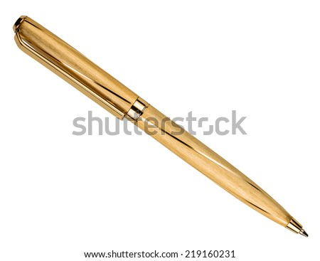 gold pen isolated on white background - stock photo