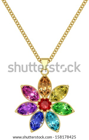 Gold pendant with colorful gemstones on chain isolated on white background. High resolution 3D image - stock photo