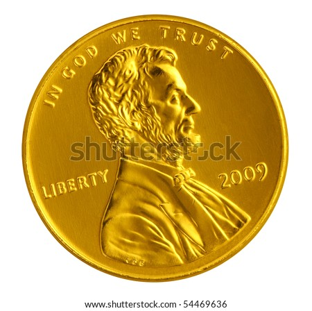 Gold penny - stock photo