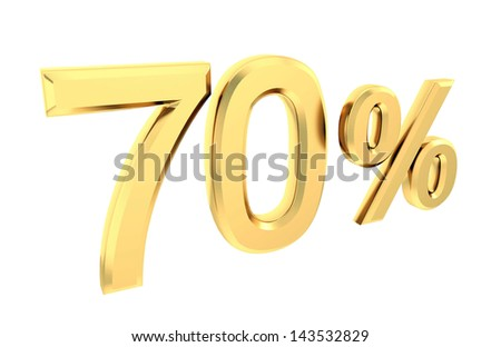 Gold 70 percent isolated on white - stock photo