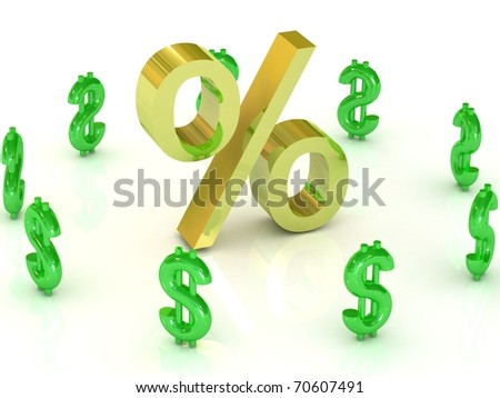 Gold percent sign with green dollar symbols around