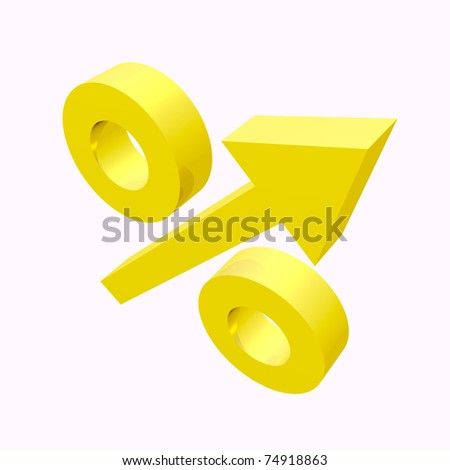 Gold percent sign with upward arrow on white background - stock photo
