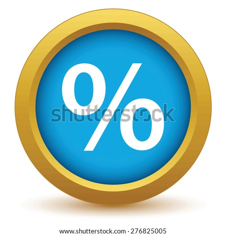 Gold percentage icon on a white background - stock photo