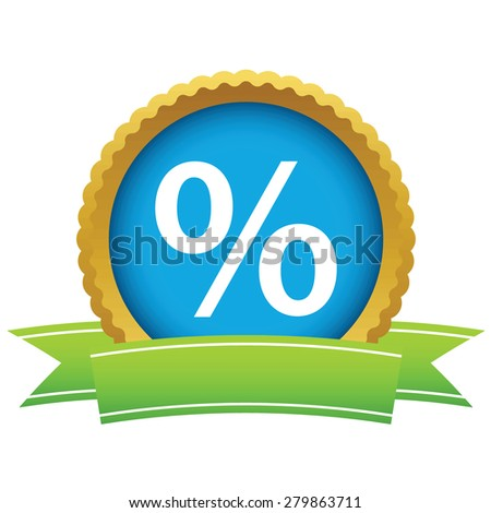 Gold percentage logo on a white background - stock photo
