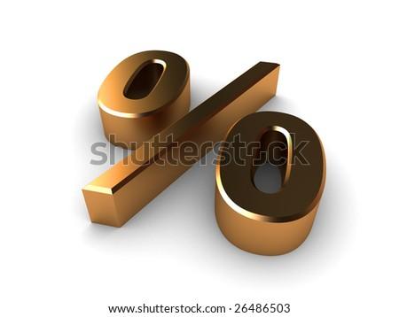 gold percentage symbol on a white isolated background. - stock photo