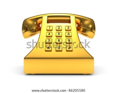 Gold phone - stock photo